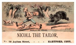 13123   Trade Card   bear chasing hunter   CT  Hartford  Nicoll the Tailor