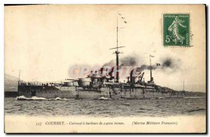 Postcard Old War Ship Courbet's Breastplate turbines