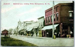 Montgomery, West Virginia Postcard Railroad Avenue Looking West c1910s