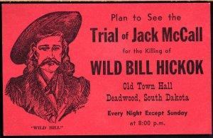 3620) South Dakota DEADWOOD Plan see the Trial of Jack McCall Wild Bill Hickok