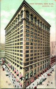 Vtg Carte Postale 1910s Chicago Illinois Il Premier National Banque Bâtiment