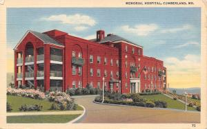 Cumberland Maryland~Memorial Hospital Triple Porch and Flower Beds 1940 Linen PC