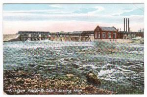 Michigan Power Dam Lansing Michigan 1910c postcard