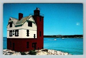 Mackinac Island MI-Michigan, Round Island Lighthouse, Chrome Postcard