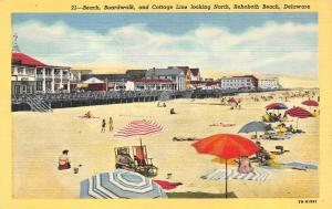 REHOBOTH BEACH, DE Delaware   BEACHGOERS~Waterfront Cottages   c1940's Postcard