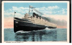 DETROIT, Michigan, 1900-1910's; Steamer City Of Detroit III