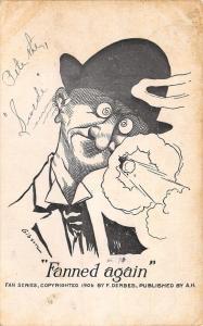 Comic Pun~Fanned Again~Bug Eyed Man~Blast of Own Cigar Smoke~Gibson~Fan Series