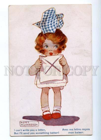 176027 Girl w/ Letter by RICHARDSON Vintage Inter-Art Co. PC