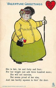 Valentine Comic~Lady Fair Fat & Forty Four~300 lb More~Proud of Size~Poem~TUCK