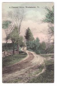 Westminster VT A Pleasant Drive Hand Colored Lithograph 1911