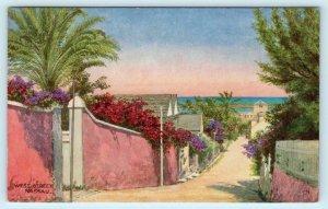 NASSAU, BAHAMAS ~ Artist View WEST STREET Scene - Salmon Postcard