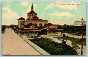 San Antonio Texas~City Market~Horse Cart~Water Fountain~Milam Square~c1910
