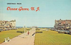 OCEAN GROVE NJ-VIEW OF OCEAN PATHWAY FROM AUDITORIUM~1966 POSTMARK POSTCARD