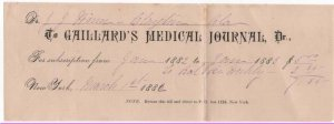 1882 Subscription and Letter, GAILLARD'S MEDICAL JOURNAL,  New York