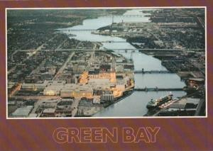 Wisconsin Green Bay Aerial View At Twilight