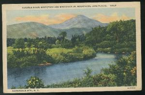 NY Adirondacks Ausable River Whiteface Mountains Lake Placid 1945 Linen Postcard