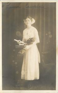 Laura Campbell In White, Holds Diploma~Real Photo Postcard c1913
