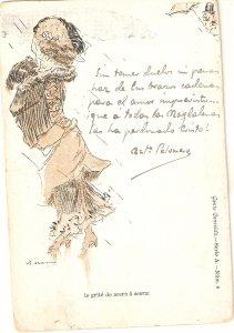 Man looking at fantasylady Old vintage antique Spanish postcard