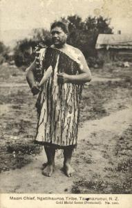 new zealand, TAUMARUNUI, Maori Chief of Ngatihauroa Tribe (1910s)