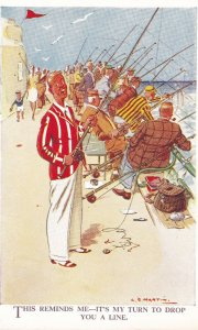Many Men Fishing, This Reminds Me- It's My Turn To Drop You A Line, 1910-1920s