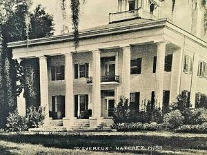 Postcard 1944 View of Devereux  Mansion, Natchez, MS.  U6