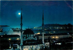 Turkey Istanbul mosque moonlight