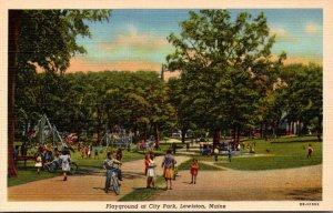 Maine Lewiston City Park Playground 1955 Curteich