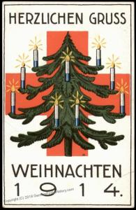 Germany 1915 WWI Weihnachten Christmas Red Cross Patriotic Card 74337