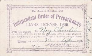 Vintage Arcade Card Humour Liars License 1906