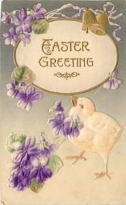 Easter~Yellow Chick~Purple Violets in Beak~Gold Bells~Lavender Ribbon~Airbrushed