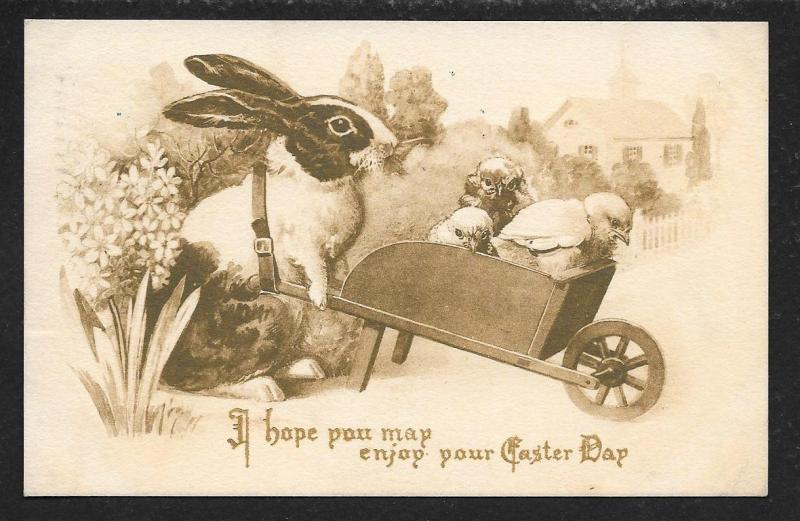 'Enjoy your Easter Day' Rabbit Chicks in Cart used c1911