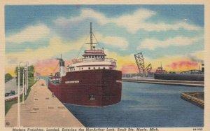 SAULT STE. MARIE , Michigan, 1930-1940s ; Modern Freighter- Entering the MacA...