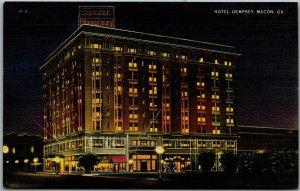 Macon, Georgia Postcard HOTEL DEMPSEY Night Street View Linen c1940s Unused