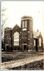 Preston, Iowa RPPC Photo Postcard St. John's Lutheran Church Street View c1920s