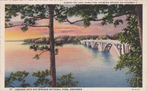 Sunset On Lake Hamilton Showing Bridge On Highway 7 Leading Into Hot Springs ...