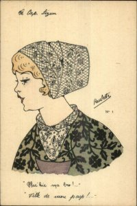 Ethnic Costume Beautiful Young Girl Lace Hat & Collar Artist PAULETTE Postcard
