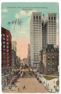 Detroit, Mich., Fort Street, West, Showing Dime Bank Building