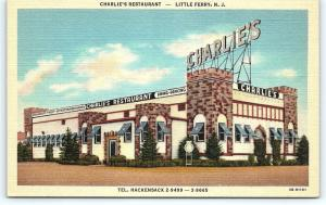 Postcard NJ Little Ferry Charlie's Restaurant Vintage Linen  R33