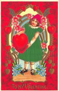 Silk Green Dressed Girl To My Valentine Embossed Postcard