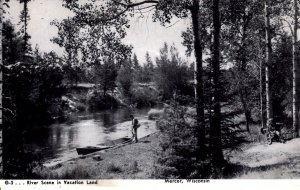 Mercer, Wisconsin - Rowboat by the River in Vacation Land - c1910