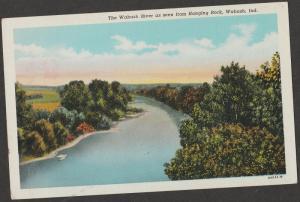 Wabash River Postcard Indiana Hanging Rock Scenic Vintage Linen