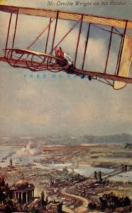 Circa-1911 Aviation Art Postcard: Orville Wright on His Glider