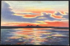 Linen Postcard Unused Sunset on the Rio Grande Extinct Volcano Peaks NM LB