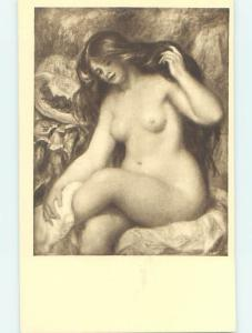 Pre-Chrome risque RENOIR PAINTING OF NUDE WOMAN ON A POSTCARD HJ3213