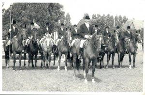 Hippique sport horses group horse riders dressage test 1973 RPPC 03.95
