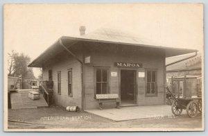 Maroa Illinois~Interurban Railway Station~Close Up~Ensenberger's Bench~1910 RPPC