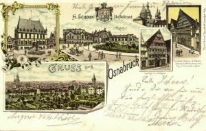 OSNABRÜCK, Mehrbildkarte, Bahnhof, Rathaus, Gasthof Walhalla (1898) Litho-AK