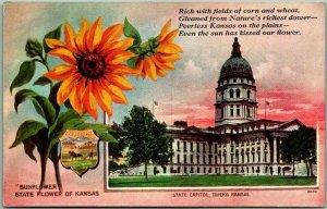 1910s Topeka, Kansas Postcard State Capitol Building / Sunflower - Unused