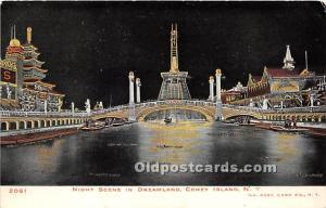 Amusement Park Postcard Post Card Night Scene in Dreamland Coney Island, New ...