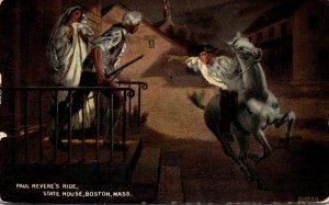 Massachusetts Boston State House Paul Revere's Ride 1915